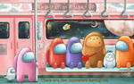 Among Us - Cute Fan Art Train Scene