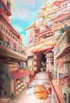 Fantasy Town Environment Painting