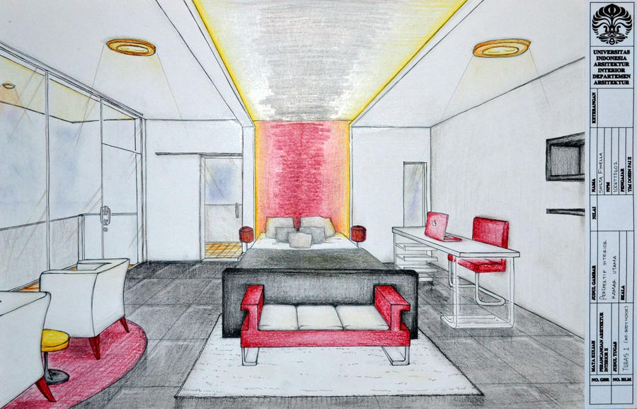 Bedroom interior perspective by shilta on deviantart for Bedroom 2 point perspective