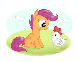 Scootaloo and her Chicken by shadowily