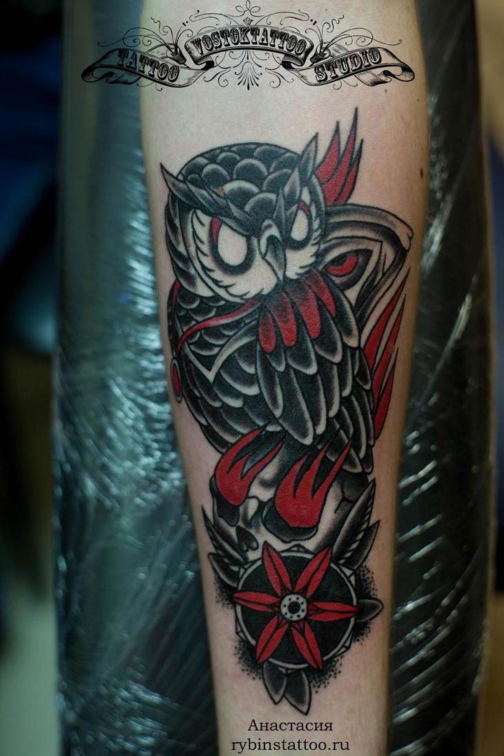 Татуировки Сова в стиле Олдскул, Цветная