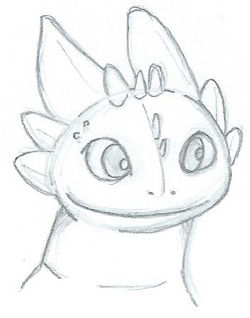 how to draw toothless head