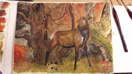 Stag in the Red Forest by ExLibrisInterInta