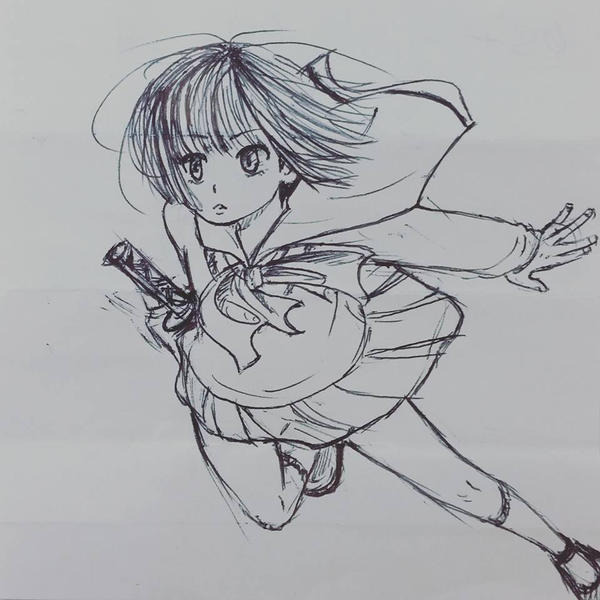 Generic Anime Girl Sketch by kanazuchi92