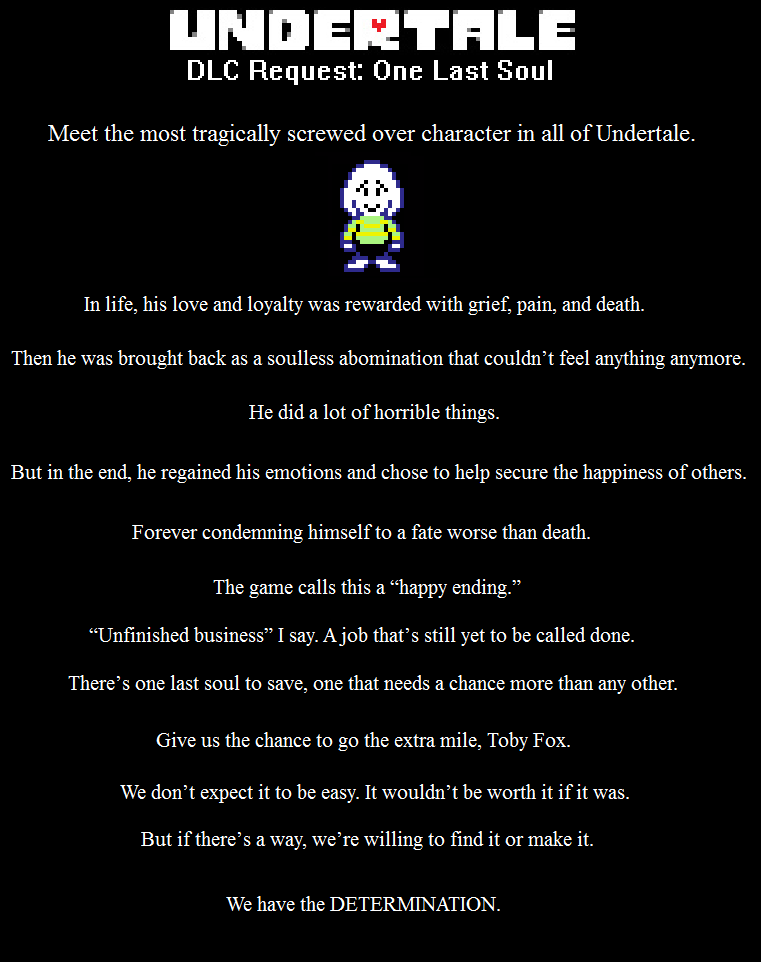 Undertale DLC Request: One Last Soul (SPOILERS) by leinglo