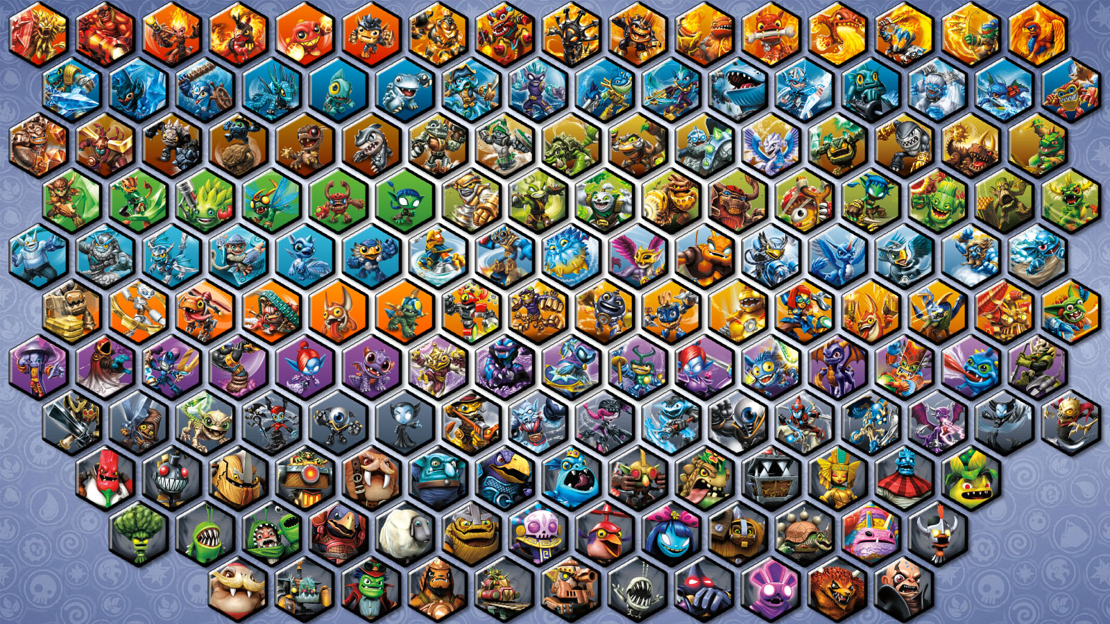 all skylanders and villains hexagon wallpaper by