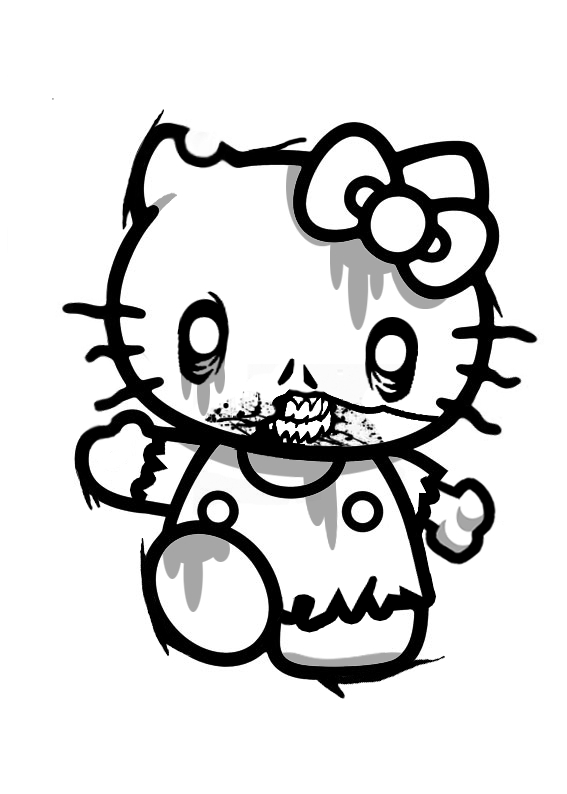 Zombie Hello Kitty - Free Colouring Pages