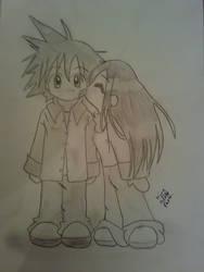 Chibi couple in love
