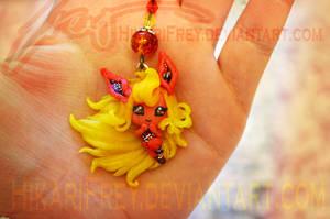 Flareon mini doll necklace by HikariFrey