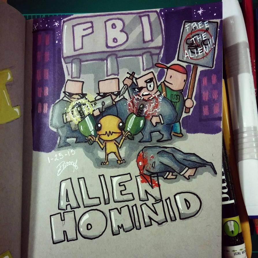 Sketchbook Drawing: Alien Hominid by Mangarocks14