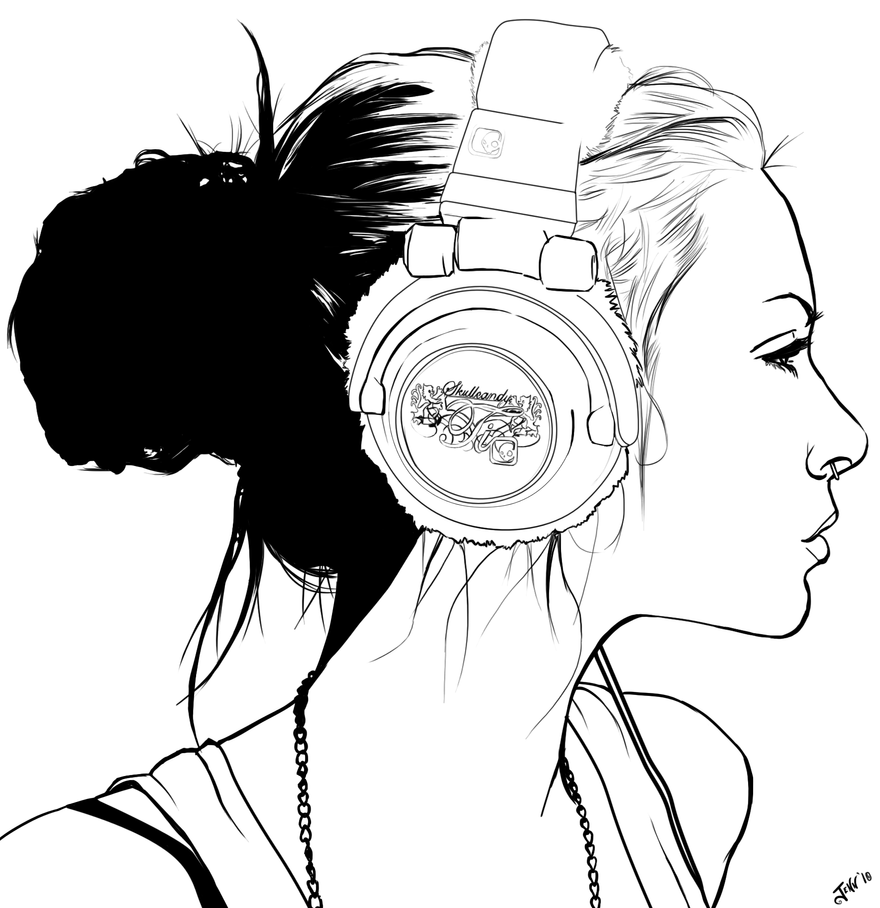 Line Drawing Of Artist : Headphone punk lineart by foxvanity on deviantart