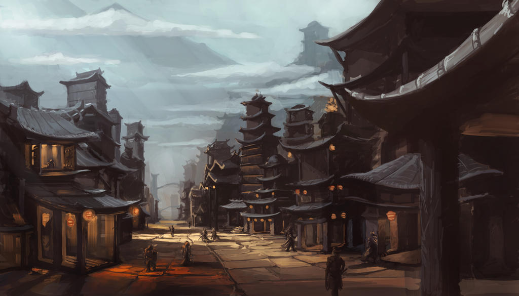Concept Art Asian Fantasy Citiscape By Espj O On Deviantart