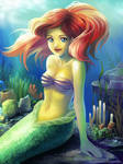 Ariel in the wind of water