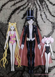 Finished Paper Dolls: Moonies and Tuxedo Mask by starca