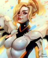 Overwatch - Mercy + Speedpaint by cosmogirll