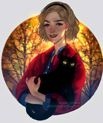 Sabrina Spellman and Salem by cosmogirll
