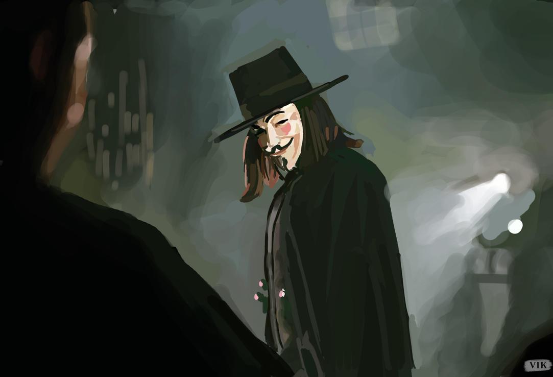 V For Vendetta Painting V for Vendetta study  by