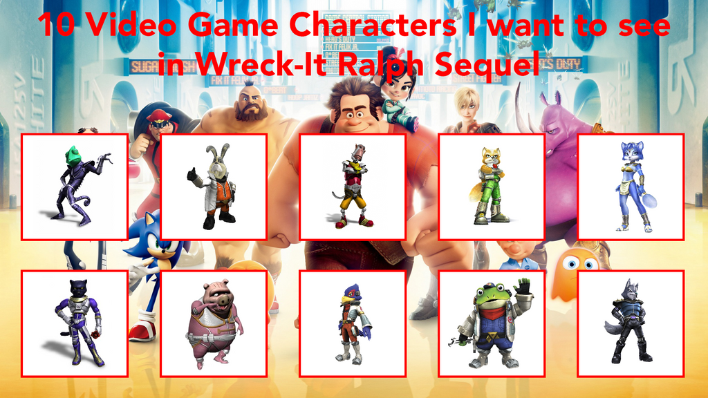 10 Characters In Wreck-It Ralph 2 (Star Fox Style) by FoxPrinceAgain