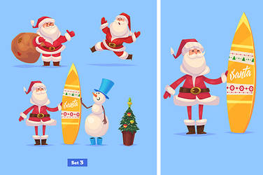 Set of Funny santa snowman and presents by krolone