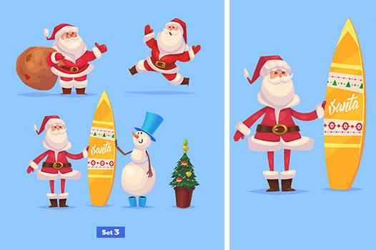 Set of Funny santa snowman and presents
