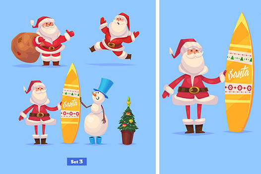 Set of Funny santa snowman and presents