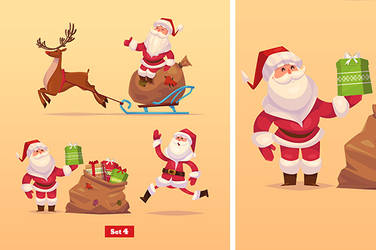 Set of Funny santa,deer and presents.