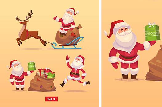 Set of Funny santa,deer and presents.