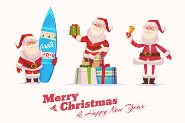 Set of Funny santa with bell, board and presents