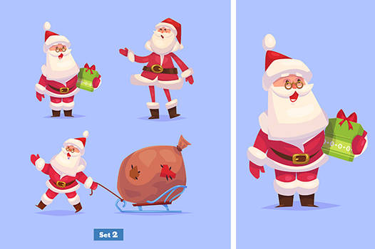 Set of banners with Funny santa