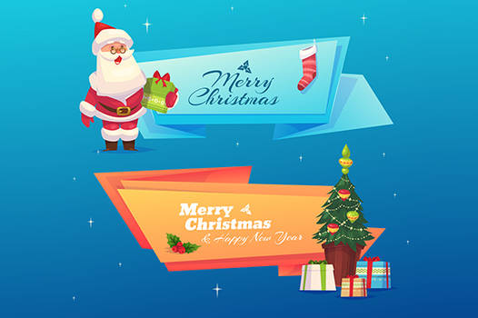 Set of banners with Funny santa  and presents