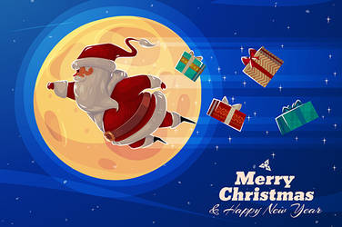 Funny flying Supersanta with presents