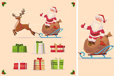 Canta claus and christmas gifts set