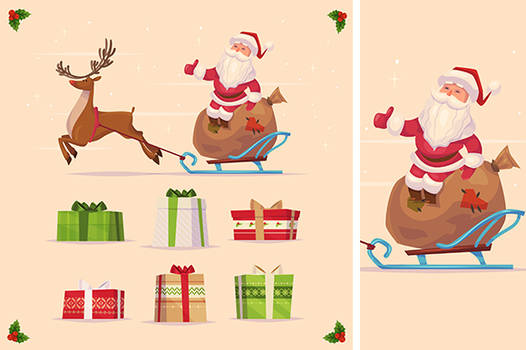 Canta claus and christmas gifts set