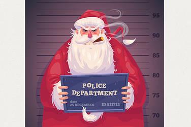 Bad Santa in police department. Christmas card