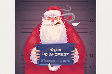 Bad Santa in police department. Christmas card