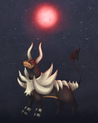 Mega-Houndoom under the moon by Himekamome
