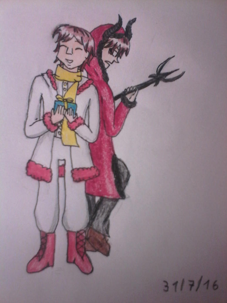 Nicolas et Krampus version manga by hichigot