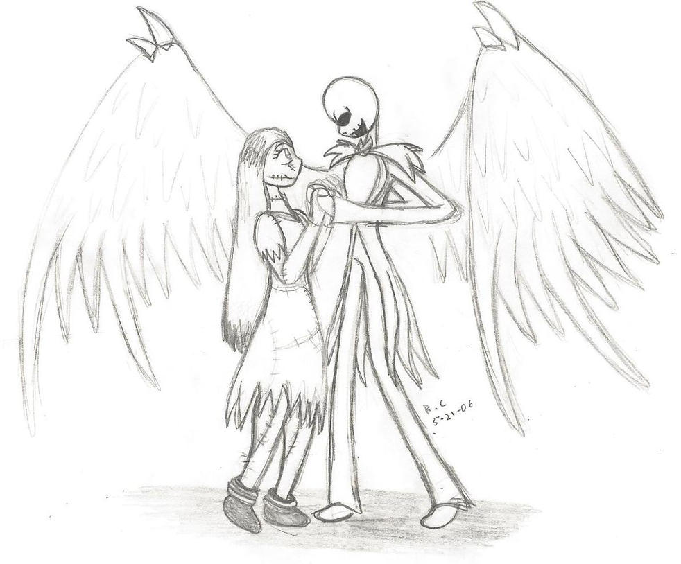 Angel jack and sally sketch by tikara the mew on deviantart for Jack and sally coloring pages