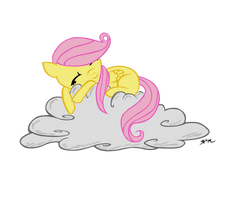 Filly Fluttershy Cloud Nap Vector by Ninjanees