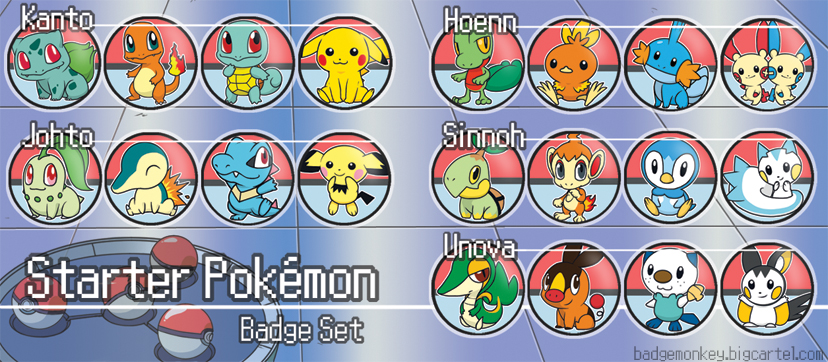 Starter Pokemon Badge Set[s] by kappapillon