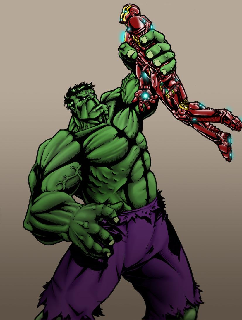 Hulk Vs Iron Man by DahamonIron Hulk