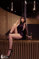 Tifa Lockhart in a purple dress FF7 Remake
