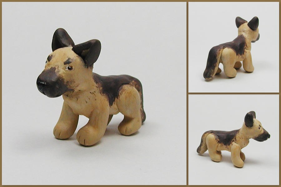 Little German Shepherd Sculpt by LeiliaClay
