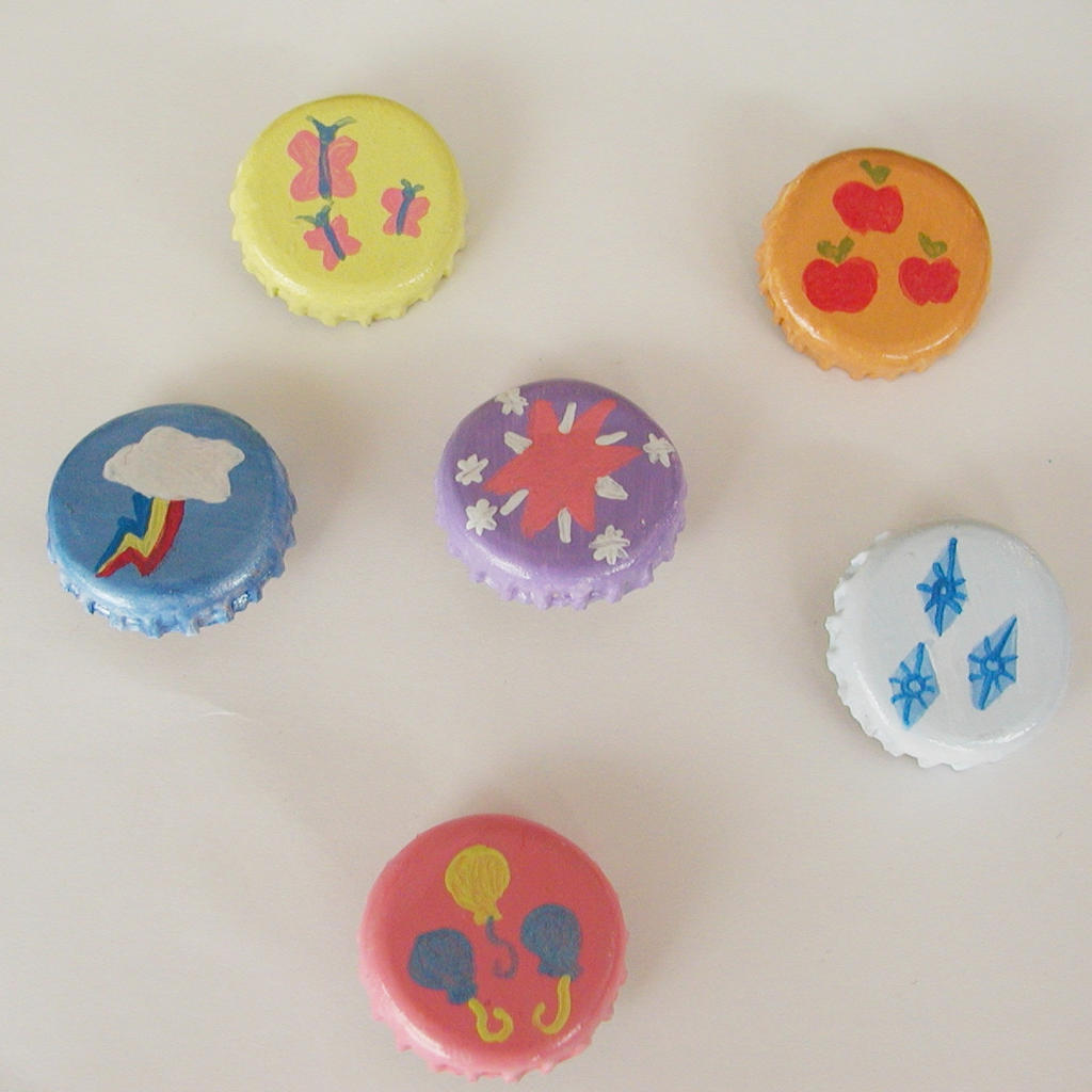 MLP Cutie Mark Bottlecap Buttons by LeiliaClay