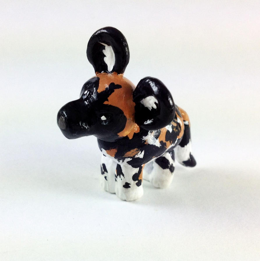 Mini African Hunting Dog Sculpture by LeiliaClay