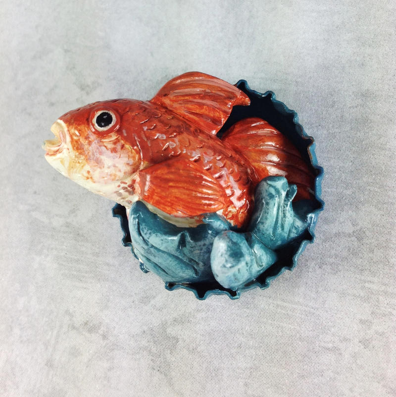 Red Fish Pop-Out Magnet by LeiliaK