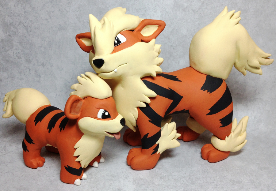 Growlithe and Arcanine Sculptures by LeiliaClay