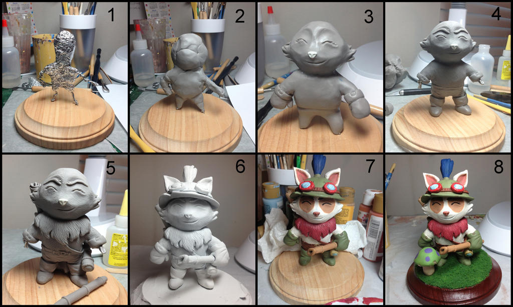 Teemo Sculpture Progression by LeiliaK