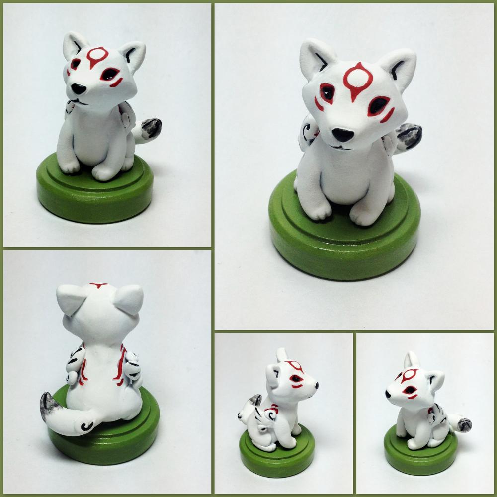 Chibiterasu Miniature Sculpture by LeiliaClay