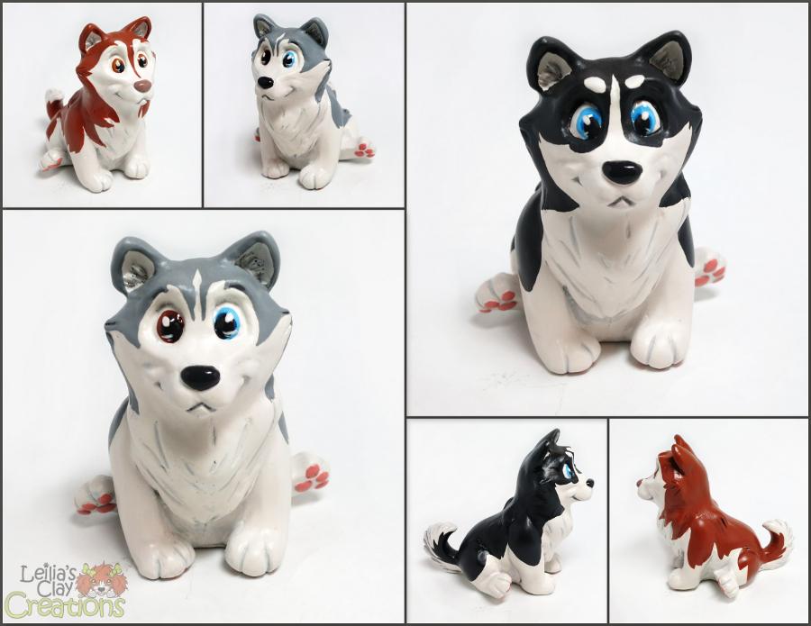 Husky Pupples by LeiliaClay